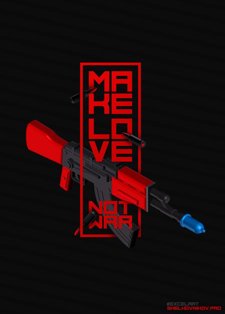 Poster, illustration. Make love not war