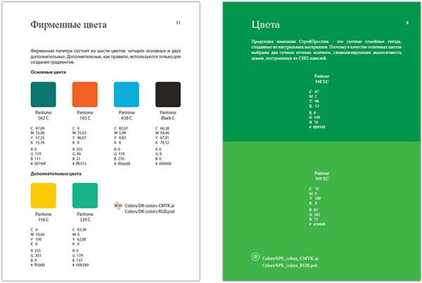 Страницы гайдлайнов про цвета
