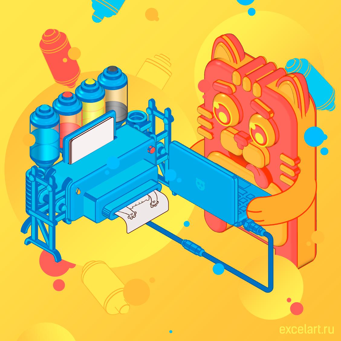 Кот-печатник с принтером